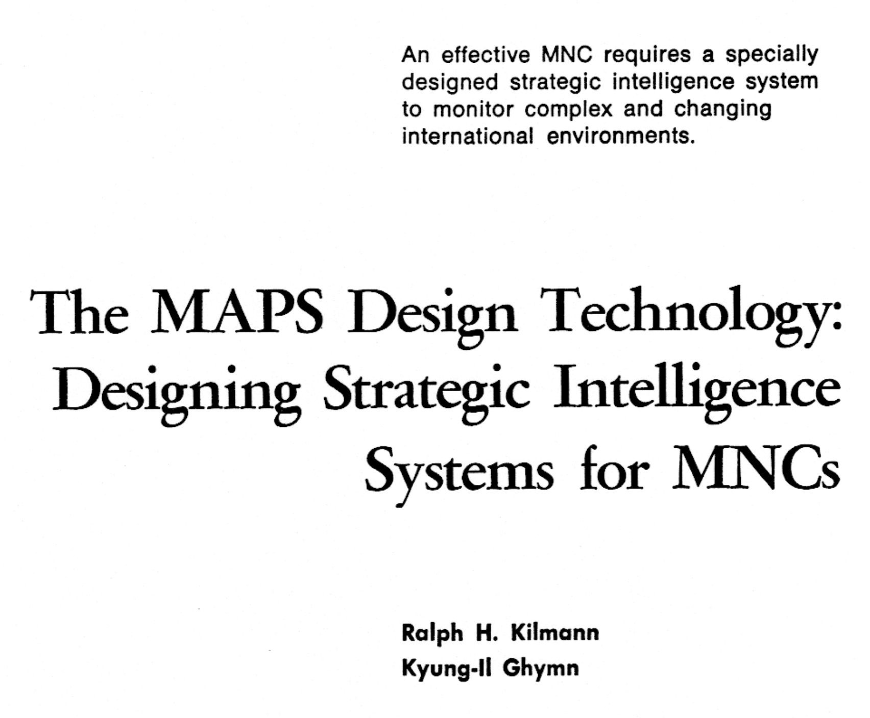 MAPS and MNCs